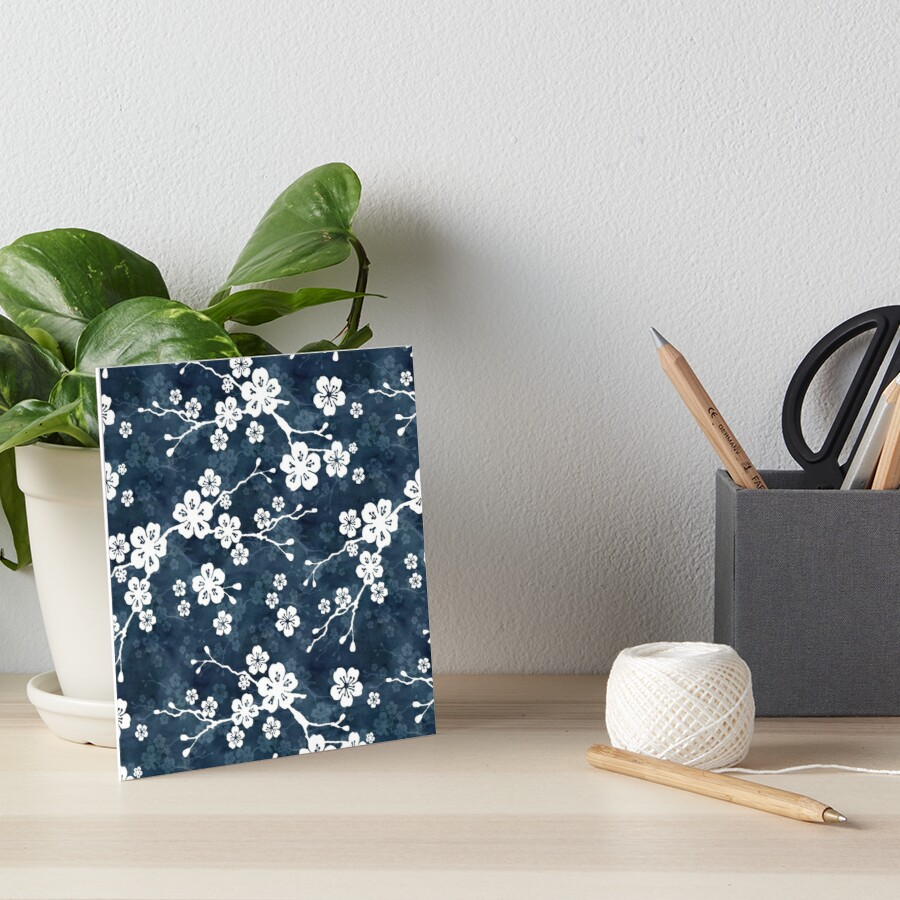 Navy and white cherry blossom pattern Art Board Print