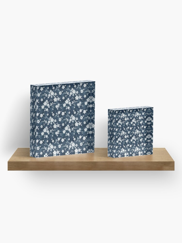 Alternate view of Navy and white cherry blossom pattern Acrylic Block