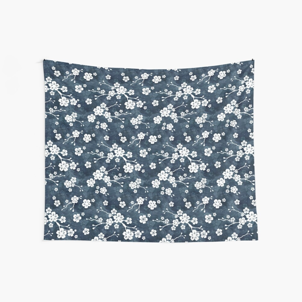 Navy and white cherry blossom pattern Wall Tapestry