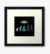 Evolution of man - UFO Framed Print