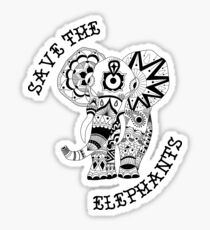 Save the Elephants Mandala Sticker