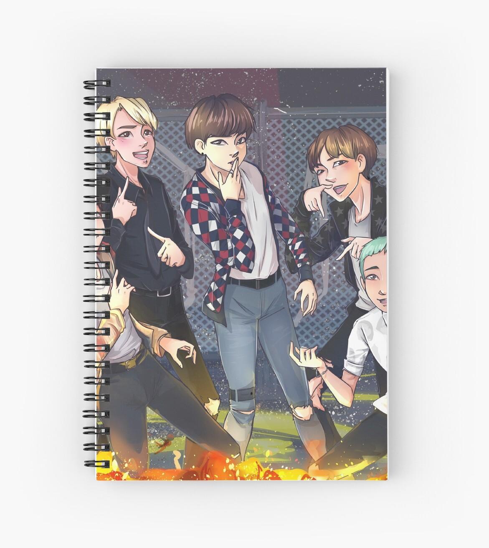 Fire Bts Spiral Notebook By Luciapg Redbubble