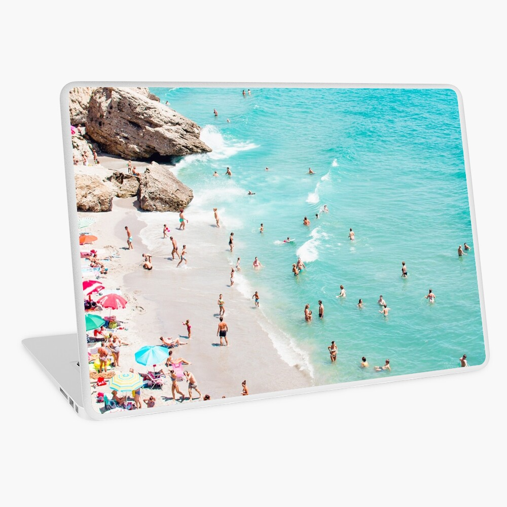 Coastal, Beach art, Blue Water, Sea, Ocean Laptop Skin