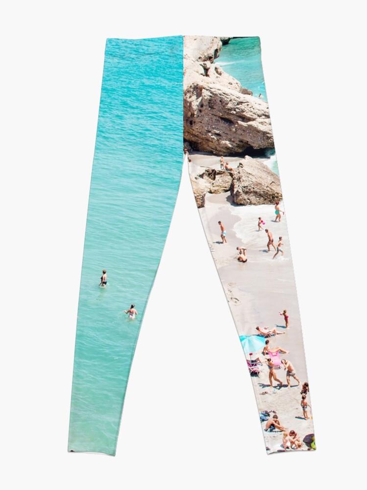 Alternate view of Coastal, Beach art, Blue Water, Sea, Ocean Leggings
