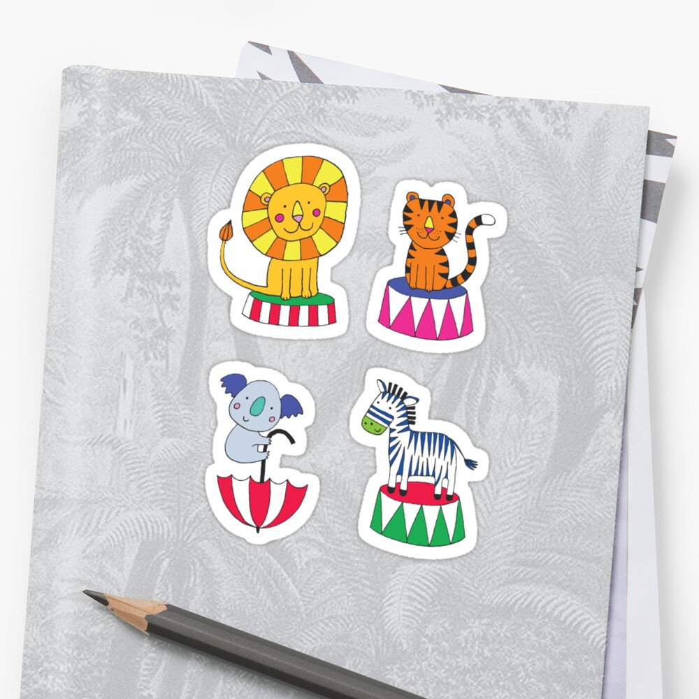 Circus Animal Alphabet - multicoloured on sky blue - Cute animal pattern by Cecca Designs Sticker Front