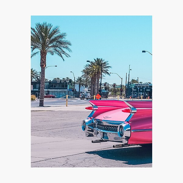 Pink car, Landscape palms Photographic Print