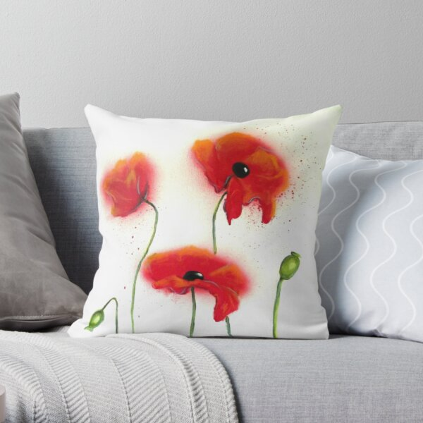 Abstract Red Poppies Throw Pillow