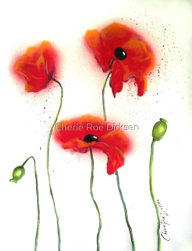 Abstract Red Poppies by Cherie Roe Dirksen