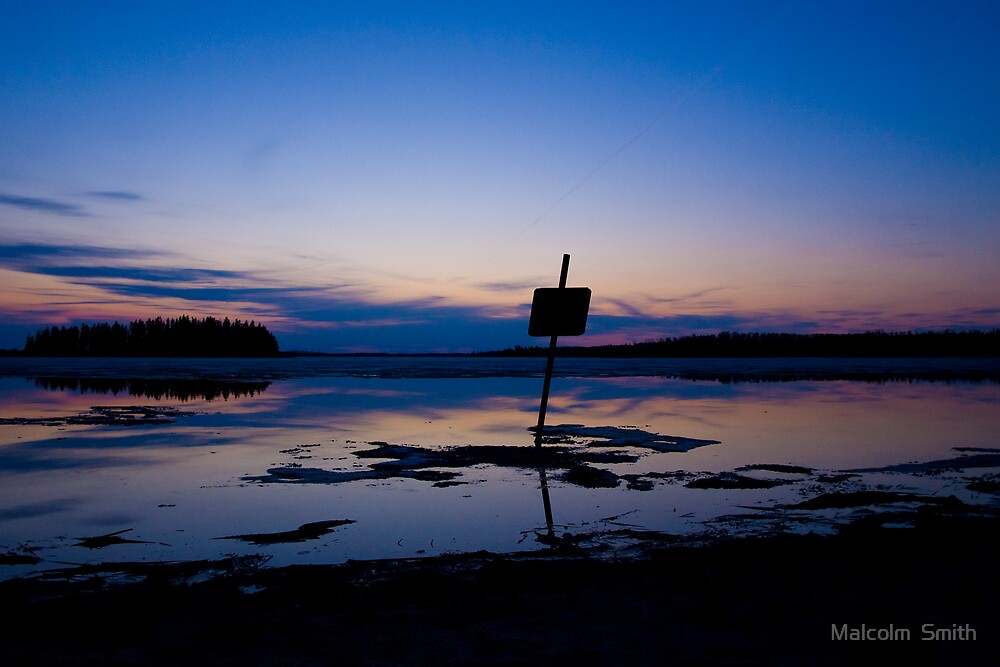 Sunset on a lake in Elk Island National Park by Malcolm  Smith