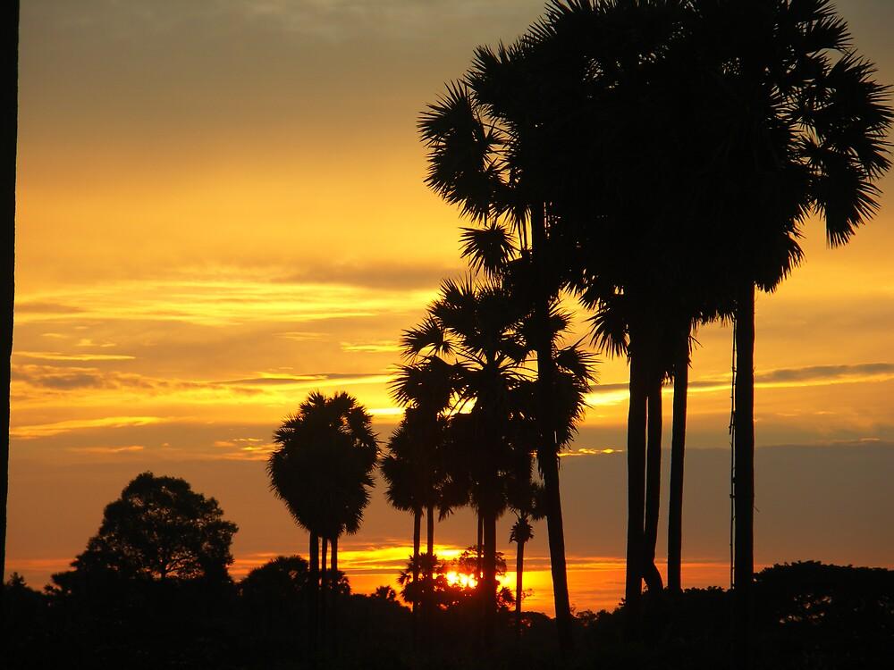 sun set cambodia by icarus17