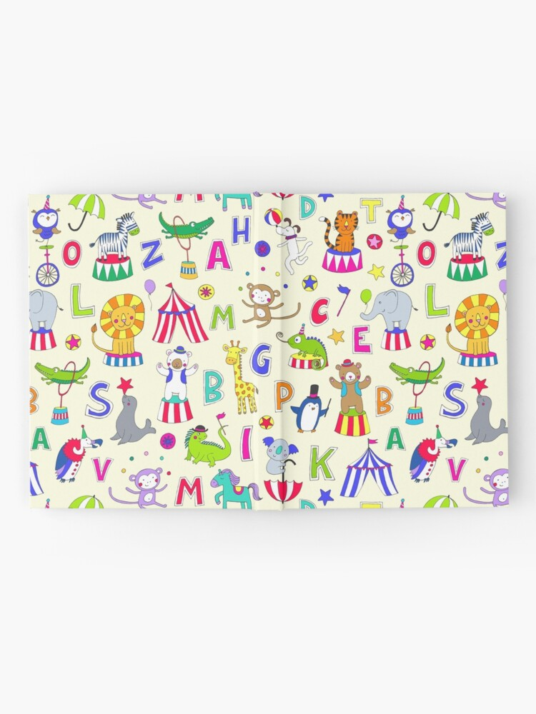 Alternate view of Circus Animal Alphabet - multicoloured on cream - Cute animal pattern by Cecca Designs Hardcover Journal