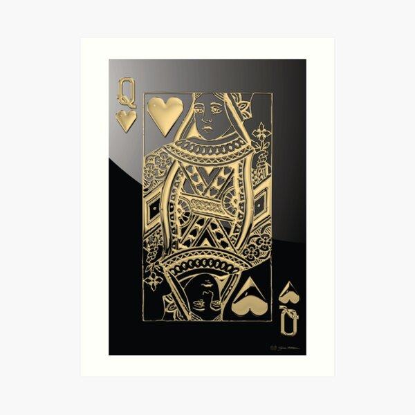 Queen of Hearts in Gold over Black  Art Print