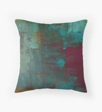 Abstract Washed Painting in Turquoise, Red and Orange Throw Pillow