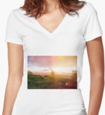 The Lone Cow Pasture Women's Fitted V-Neck T-Shirt