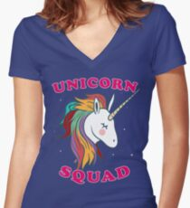 Nette Einhorngruppe Tailliertes T-Shirt mit V-Ausschnitt
