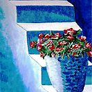 More Flowers on Blue Steps by WhiteDove Studio kj gordon