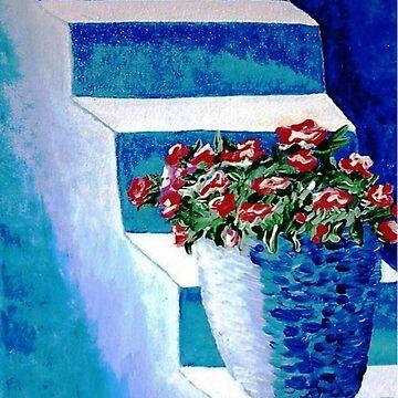 More Flowers on Blue Steps by kjgordon