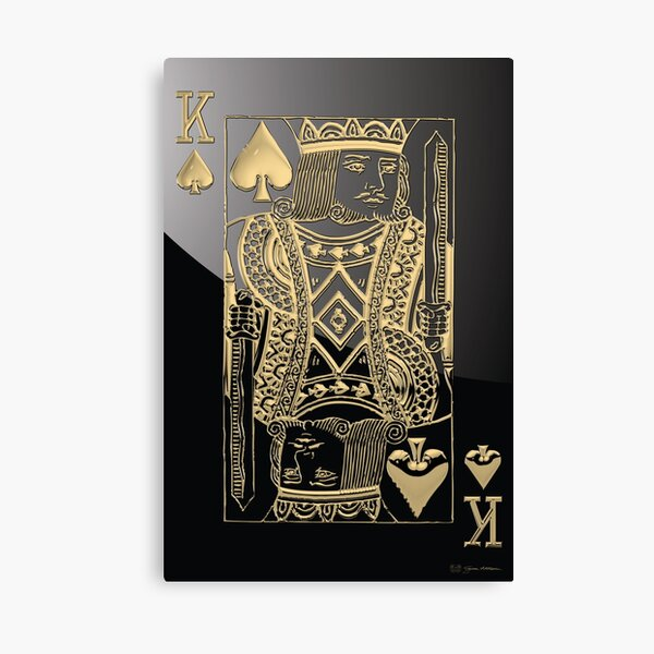 King of Spades in Gold over Black  Canvas Print
