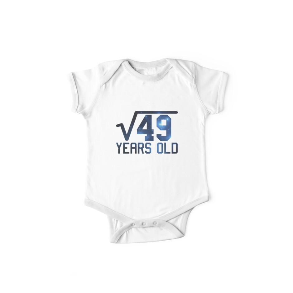 Square Root 49 7th Birthday T Shirt Funny Kids Math Gift