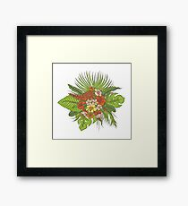 Leaves of tropical plants, exotic flowers buds. Framed Print