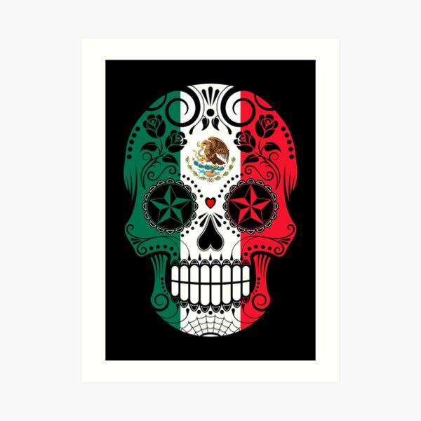 Sugar Skull with Roses and Flag of Mexico Art Print