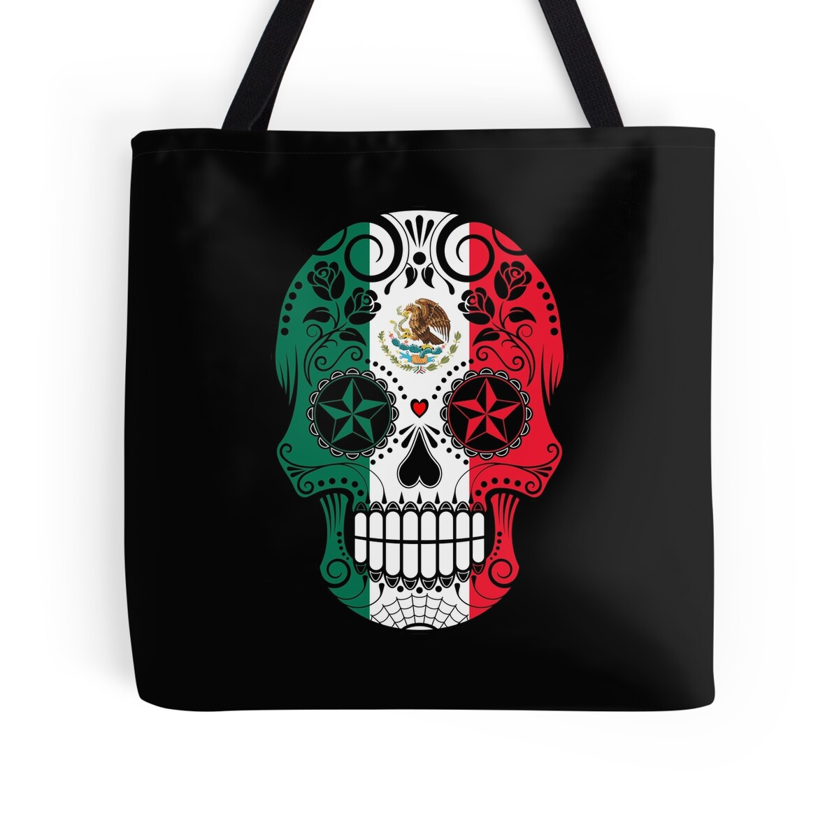 sugar skull with roses and flag of mexico