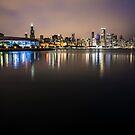 Classic Chicago Skyline with Shedd Aquarium lights on  by Sven Brogren