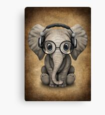 Cute Baby Elephant Dj Wearing Headphones and Glasses Canvas Print