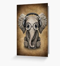 Cute Baby Elephant Dj Wearing Headphones and Glasses Greeting Card