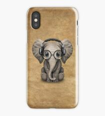 Cute Baby Elephant Dj Wearing Headphones and Glasses iPhone Case