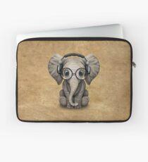 Cute Baby Elephant Dj Wearing Headphones and Glasses Laptop Sleeve