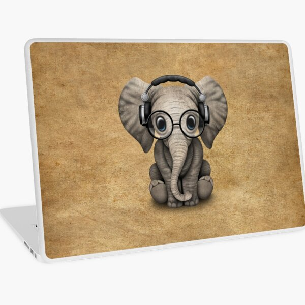 Cute Baby Elephant Dj Wearing Headphones and Glasses Laptop Skin