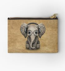 Cute Baby Elephant Dj Wearing Headphones and Glasses Studio Pouch