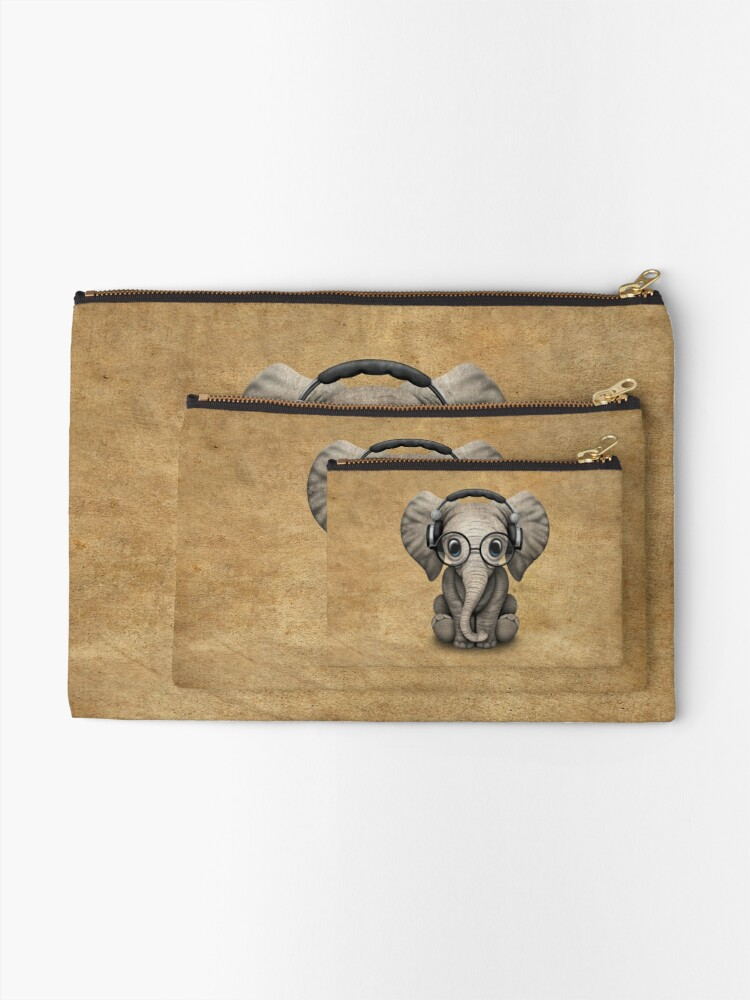 Alternate view of Cute Baby Elephant Dj Wearing Headphones and Glasses Zipper Pouch