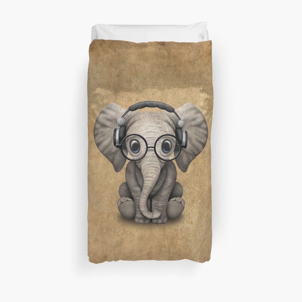 Cute Baby Elephant Dj Wearing Headphones and Glasses Duvet Cover