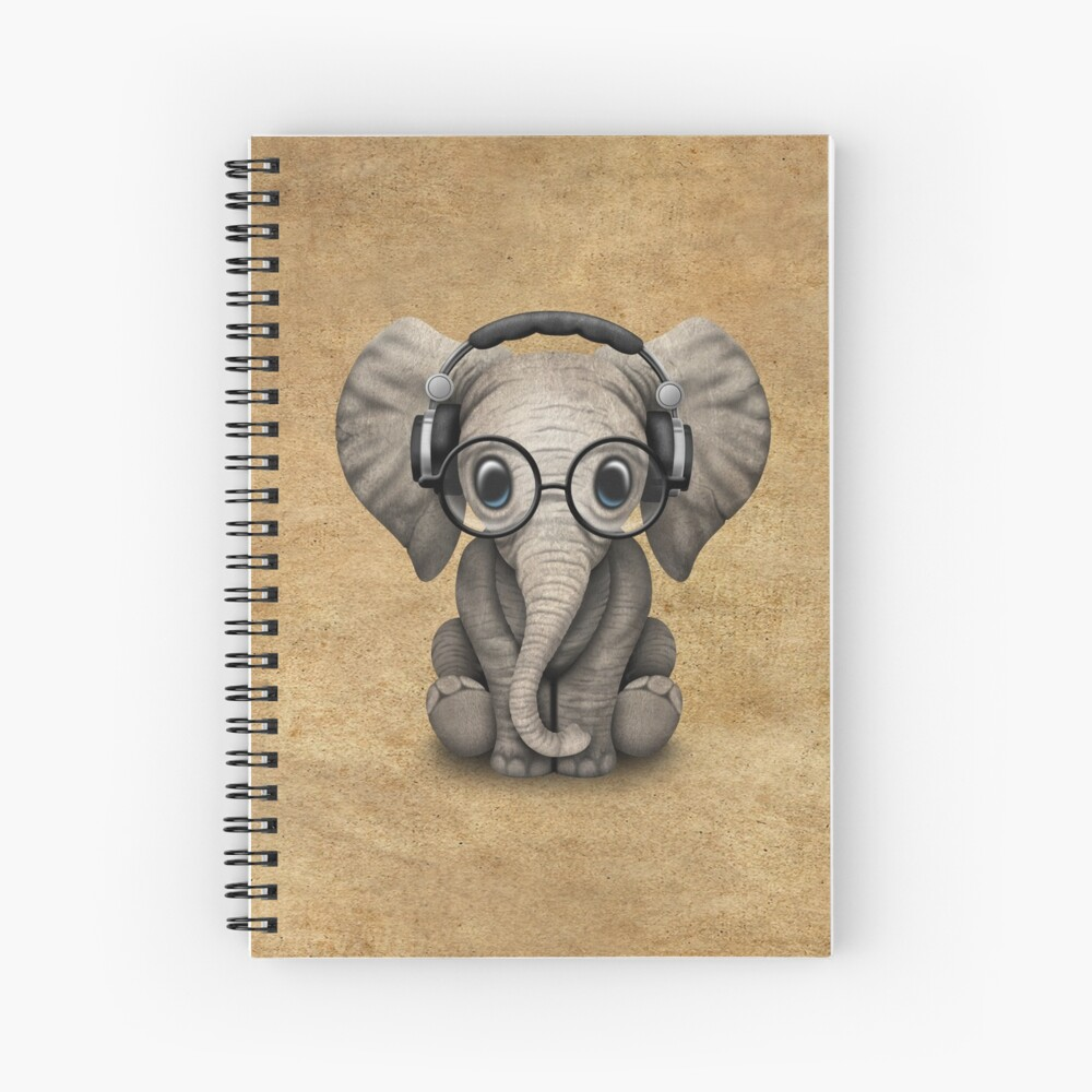 Cute Baby Elephant Dj Wearing Headphones and Glasses Spiral Notebook