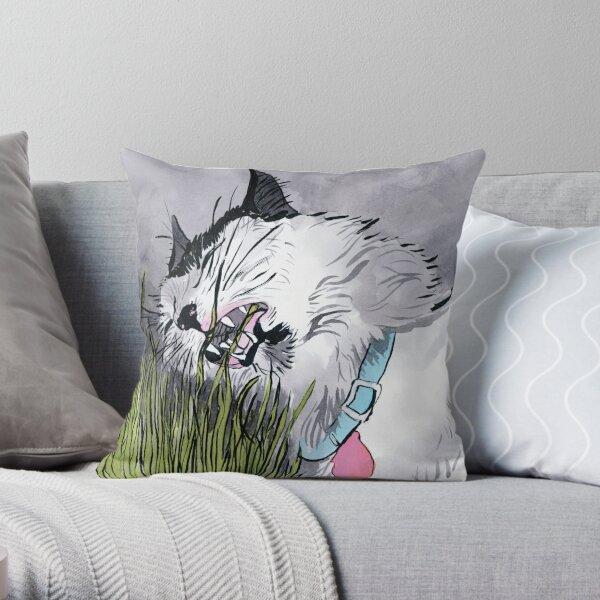 Cat Grass Throw Pillow