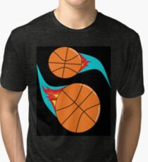 Fun Yin Yang Basketballs Tri-blend T-Shirt