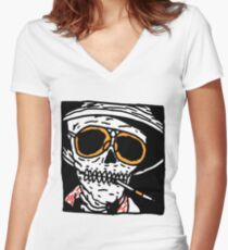 Fear and Loathing skull Women's Fitted V-Neck T-Shirt