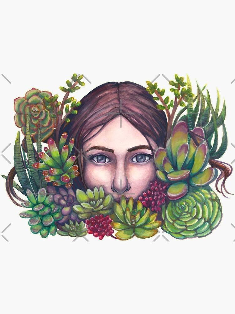 Secret Garden Succulent Portrait Painting by catherold