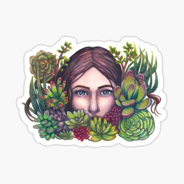 Secret Garden Succulent Portrait Painting Sticker