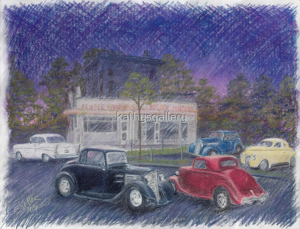 Antique cars at Kewpees by kathysgallery