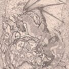 Unicorn and Dragon Pentagram by Stephanie Small