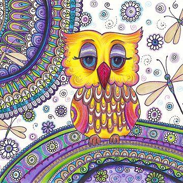 OWL Original Zentangle Doodle Drawing , Owl painting by DhanaART
