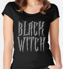 Black witch, gray and white magical, fantasy font Women's Fitted Scoop T-Shirt
