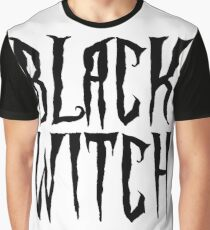 Black witch, black on white, magical, fantasy font Graphic T-Shirt