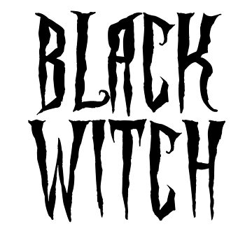 Black witch, black on white, magical, fantasy font by cool-shirts