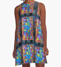 Stained glass cubism A-Line Dress