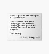 The beauty of all literature - F Scott Fitzgerald Art Board