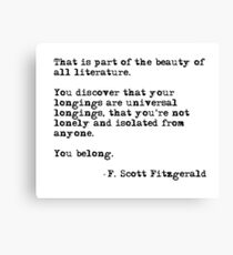 The beauty of all literature - F Scott Fitzgerald Canvas Print